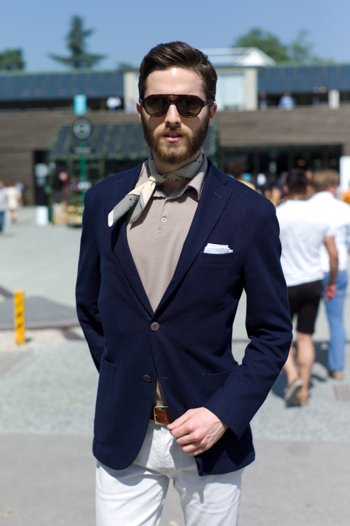 wgsn:  Another perfect example of effortless styling from Pitti Uomo last week. Subscribers click here for our uncut gallery of street shots from the show with over 450 images.