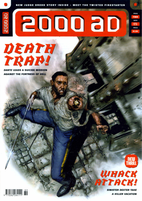 "stomm2000ad:  Bold cover(Prog1189,19Apr'00)from Mark Harrison showing a grim,grittier Nikolai Dante. Having been given the Province of Rudinshtein(the poorest and most lawless in the empire),when war breaks out between the Romanov/Makarov dynasties,Dante is determined to stay and fight with the people who have taken to calling him, ""Hero of Rudinshtein"". (""Tsar Wars""Vol.1;script:Robbie Morrison;art:John Burns)"