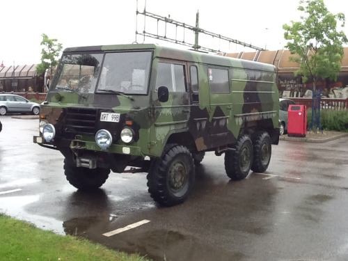 My other car is a Pinzgauer   I can't say that Älmhult is representative of Sweden as I haven't had much experience of other towns yet. It's certainly unlike anywhere I've lived before.   Take this chosen mode of transport as an example.   Every day it's parked behind the IKEA store. At first I thought the Army were doing a drill, but the months have worn on and there it sits every day, the flower window stickers suggesting images of peace fighters or lipstick lieutenants.   I've never seen the owner, and that's ok. The point is this: this is Älmhult and there's no place like it.