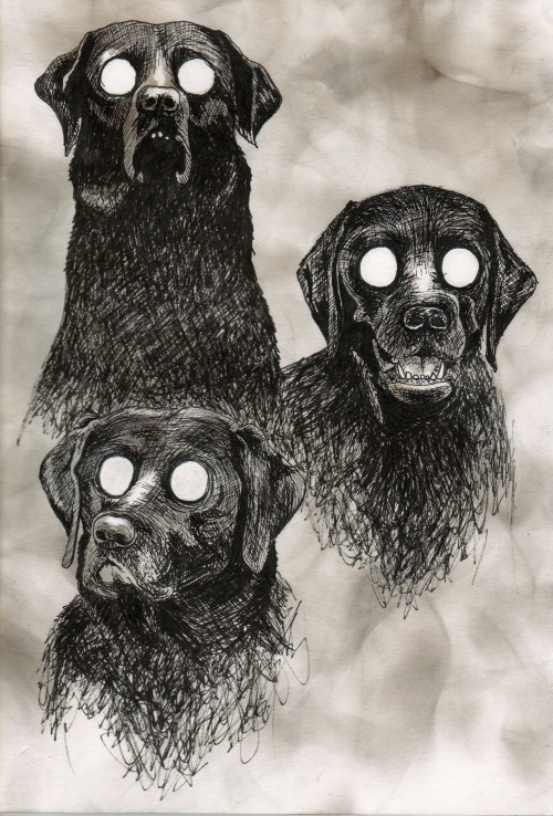 Wish Hounds 2012. Pen and soot on paper.