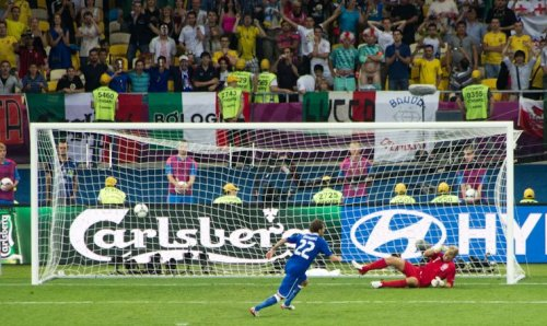 We may be out of Euro 2012 but the English never disappoint! check out the guy in the background doing his best to put off the Penalty Kick taker.