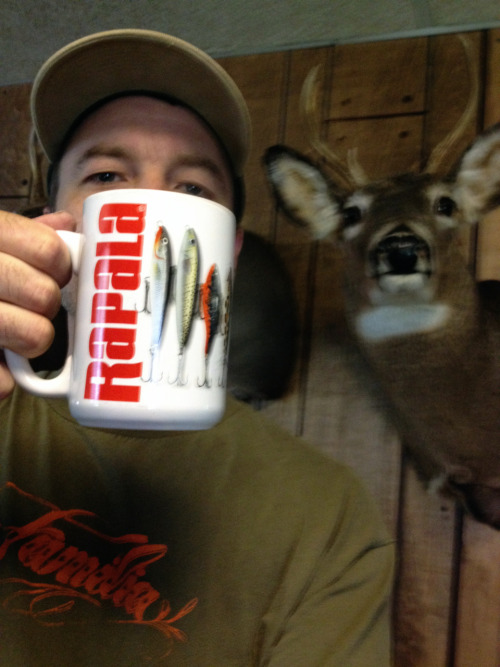 "Mugshot Monday - ""Rapala"" coffee mug with Split Decision Half Caff blend by Peace Coffee"