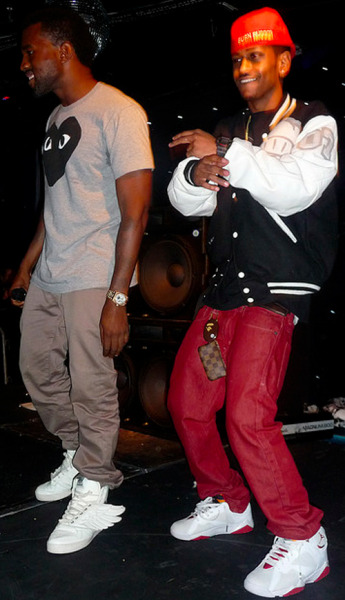 "Kanye West in the Jeremy Scott x adidas Wings White/White & Big Sean in the Air Jordan 7 ""Hare"""