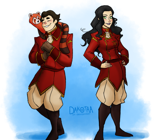 "masterarrowhead:   Book 2: Bolin and Asami team up with Iroh II and join the United Forces, getting dapper as fuck uniforms and go off to save the world with great hair and sexyness  Made this post last night and couldn't stop myself from drawing these two in Iroh II's uniform since it's a favorite of mine, and also matching outfits really sells their title of 'Team Sexy As Fuck' and all that (this is all code for I was too lazy to look at screencap references of the other UF crew members' uniforms). I look at this as Bolin and Asami decided to raid Iroh's closet one day while he was away and then started running around the ship screaming about ""HONOR,"" ""SILVER SANDWICHES,"" and ""TEEEEEEA!!"" General Iroh was NOT pleased upon his return."