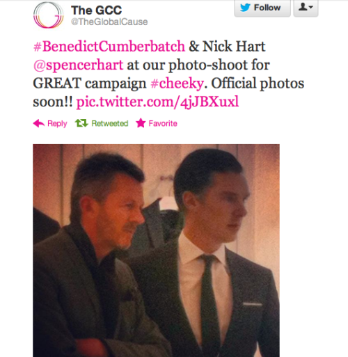 cumberbuddy:  From today!  & to confirm the chitter on Twitter, The Cumberbutt is still in London!  Looking forward to the final photo's for this project @TheGlobalCause !