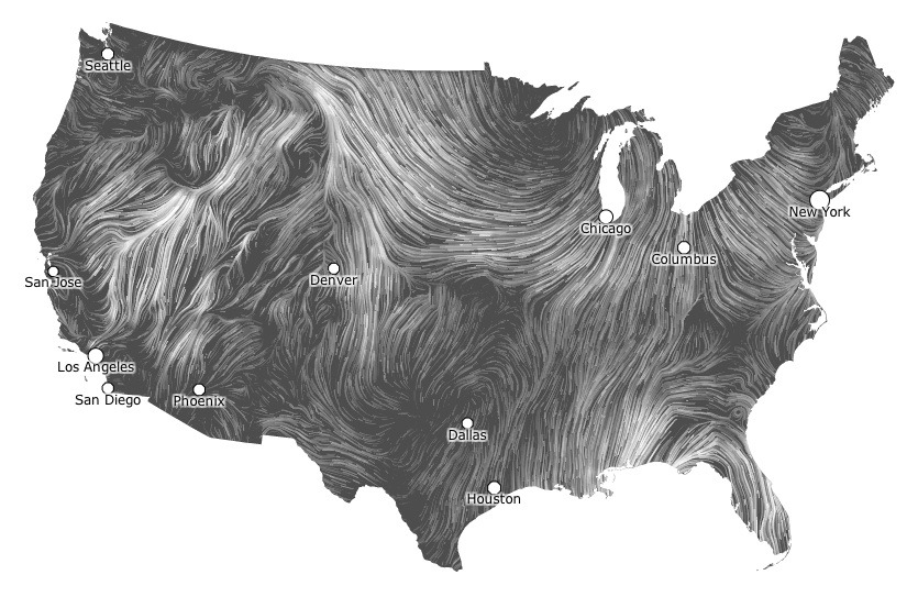 Image description: This live map shows surface wind data. The brighter the lines, the faster the wind speed. HINT.FM made the map using data from the National Digital Forecast Database. See the map in action.