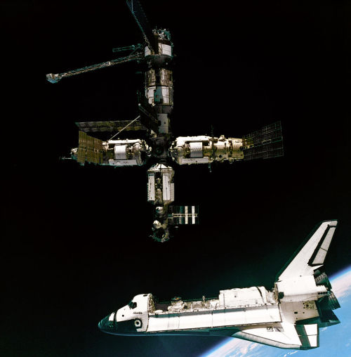 crookedindifference:  A view of the Space Shuttle Atlantis departing the Mir Russian Space Station. This image was taken during the STS-71 mission by cosmonauts aboard their Soyuz TM transport vehicle. The scene is backdropped by the Earth's limb.