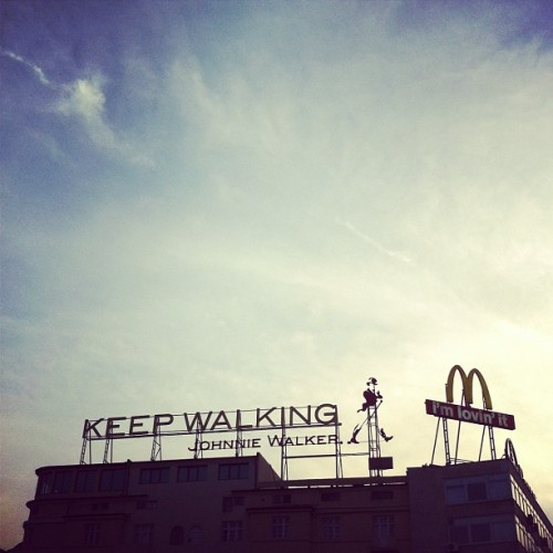 """Keep walking; I'm lovin' it"" logos (Taken with Instagram)"