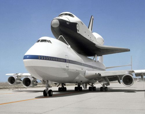 crookedindifference:  Space Shuttle Enterprise, the nation's prototype space shuttle orbiter, and the 747 Shuttle Carrier Aircraft (SCA)