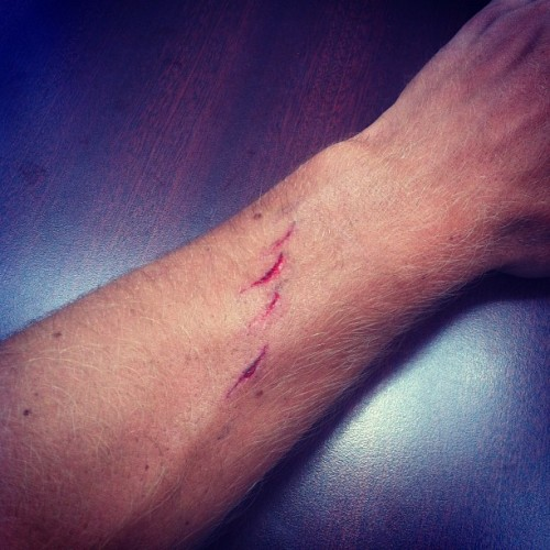 Novice mark on my fore arm. Not very clever. (Taken with Instagram)