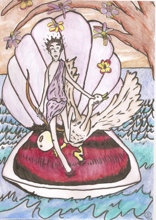 schedel:  Here's a picture of Eros that I did one day a while back.  I don't think it's good as an illustration, but I just did it to show what I'd like to do at a photoshoot someday.  If I can find a photographer with an aesthetic sense in line with my own.