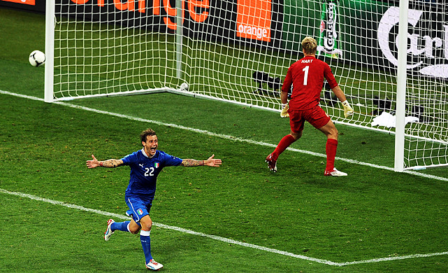 Alessandro Diamanti celebrates after scoring the decisive kick Sunday to send Italy through to the European Championship semifinals with a 4-2 win in the shootout following a 0-0 tie with England. The Italian team will take on Germany in the seminfinals on Thursday. (Christopher Lee/Getty Images) LITTLETON: Three thoughts after Italy eliminates EnglandGRAHAM: English cynicism evident at Dog and Fox PubGALLERY: Euro 2012 In Photos