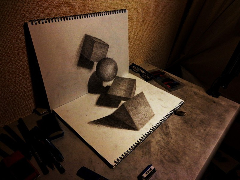 visualnews.com Nagai Hideyuki The 21 year old artist from Japan creates drawings that seem to leap out of the sketchbook before your very eyes. It's amazing to see what can be done with just a pencil and paper and the right angle for capturing a photo. The way he uses lighting, shading, and anamorphosis to create these 3D images is reminiscent of MC Escher