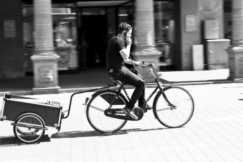 Cyclist, phone and cart on Flickr.