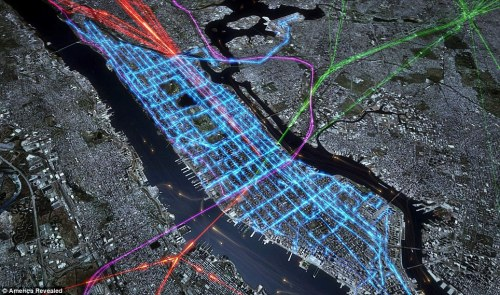 From the Daily Mail, this shows New York's morning commute. Orange = ferries Green, purple and red = commuter rail Blue = buses Other maps in the attached article show the US electricity network, job losses and pizza routes.