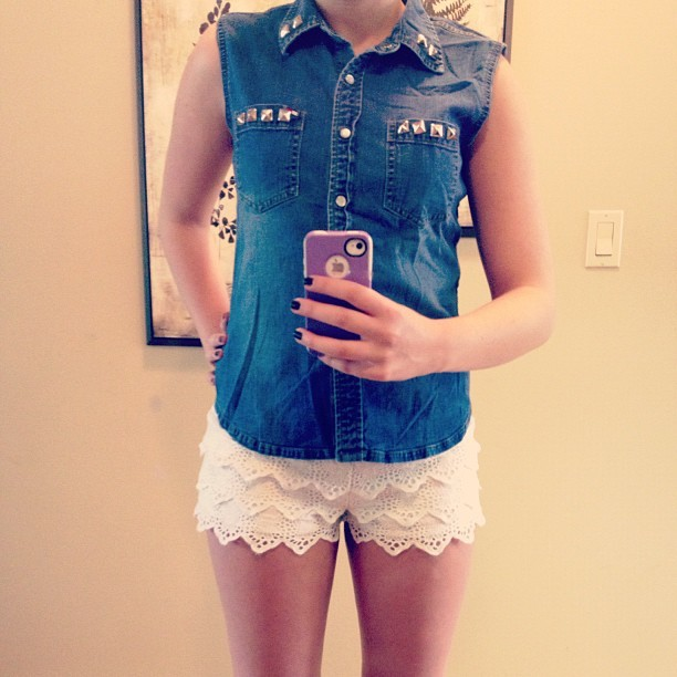 #denim #lace #studded #vest #girl #fashion (Taken with Instagram)