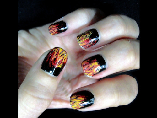 Girl on Fire on Flickr.Hunger Games' nail art.