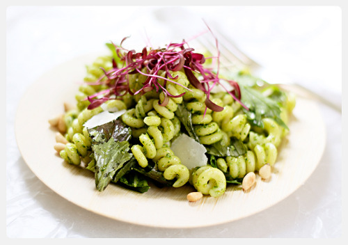 farmer's market pasta salad with spinach pesto from The Parsley Thief