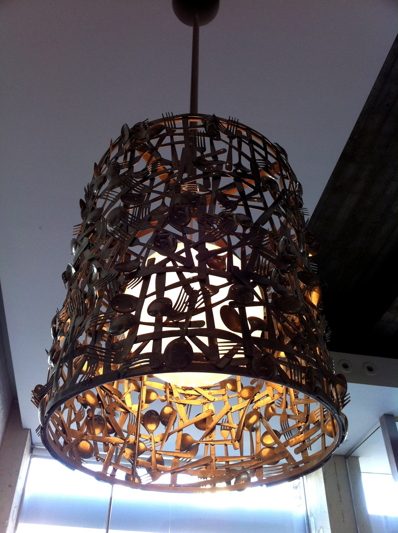 I took this photo at Kitchen 24 in Los Angeles. These lamps are perfect for a restaurant!