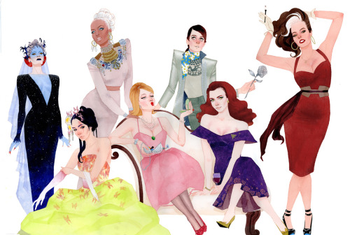 kevinwada:  X-fashion commission: X-Opera!  X-men women matched with opera heroines in mid-century garb inspired by their costumes.  Full description of the piece here.  Happy Birthday Brett! Mystique as the Queen of the Night Psylocke as Cio-Cio San Storm as Aida Boom-Boom as Cunegonde Kitty Pryde as Octavian Jean Grey as Violetta Rogue as Carmen