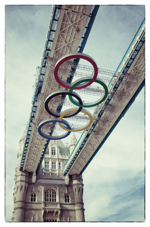 Olympic Rings on Tower Bridge, London