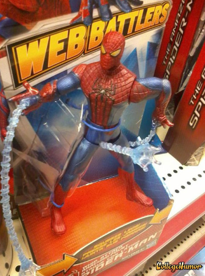 Spider-Man Slings Web from Crotch Come on, Spider-Man, did you had to cover the city in that stuff?