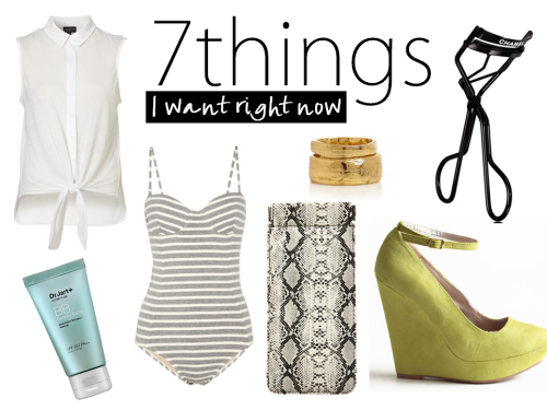 7 things I want right now: Crisp white sleeveless button down ($24) —Great to wear over a maxi dress, with jeans, or as a beach coverup. Dr. Jart+ BB Cream ($34) —The key to a 5 minute face. Just add bronzer, mascara, concealer, and lip balm.   Retro striped swimsuit by J.Crew ($98) —Best option for that family beach vacation. Gold stackable rings ($96) —Perfectly understated, but Cleopatra-esque. Snakeskin sunglasses case ($16) —Just the way I like my trendy items, inexpensive. Chanel eyelash curler ($34) —For a little luxury in every day life. Bright yellow wedges ($44) —Super summery color in a backyard-friendly wedge.  See what else is on my City Girl shopping radar on my Currently Obsessed page!