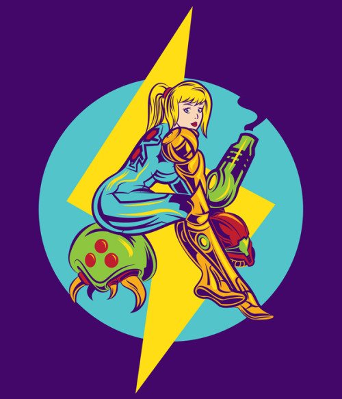 adamworks:  Hi everyone here's my samus/metroid pin up style design that maybe you saw on some of my side art just click and you can buy it on my redbubble account or just see how it looks in diferente color shirts :D