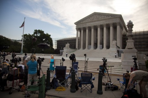 medilldc:  Evan Vucci of AP took this photo on the steps of SCOTUS today. Just a sneak of how big the crowd will be come Thursday for decision time.