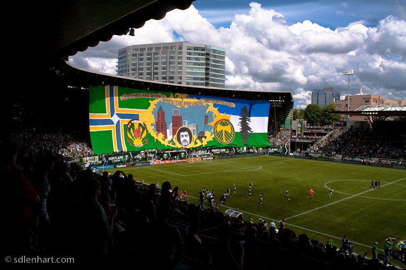 A lovely shot of the Timbers Army tifo display last night before the Portland-Seattle game, taken by XI photographer Steven Lenhart.