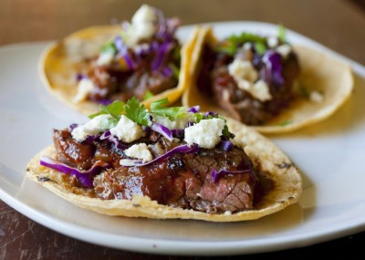 Steak Tacos with Chipotle Cherry Salsa and Caramelized Onions