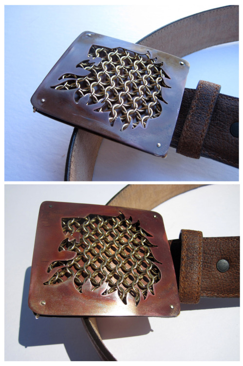 Two photos of the same House Lannister belt buckle, I couldn't decide which one I liked better.  Copper sheet with a heat patina and brass chain mail.  Next buckle: House Tarygaryen