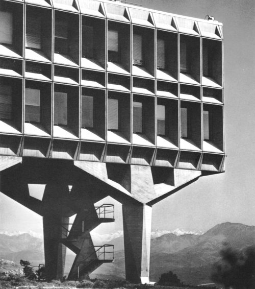 fuckyeahbrutalism:  IBM France Research Center, La Gaude, France, 1958-62 (Marcel Breuer & Associates) This is my 750th post, and FYB is nearing 40,000 followers. It seems now is a good enough time for a bit of reflection. I'm amazed and humbled by the amount of attention and recognition this blog has garnered. My intention isn't that all 40,000 of you start designing Brutalist architecture, but that some of you begin to treat this (admittedly quite nebulous and often misunderstood) mode of building with a bit of respect. Brutalism was and is an essential episode in the history of modern architecture, and the more evidence of its presence we lose through negligence and demolition, the harder it is to see a complete picture of that history. If one finds these buildings unwelcoming and discomfiting, remember the visceral feeling they engender, and reflect on the powerful yet subtle effect that architecture can have on your daily life. That is all.  Cannot express how much I love this building. It inspires me for the style of architecture I hope to build in the future