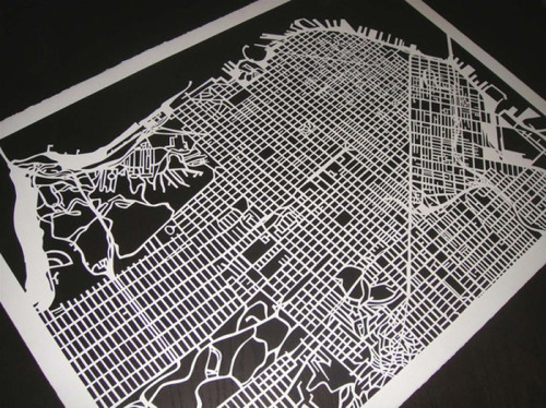 Hand-Cut Maps by Karen M. O'Leary