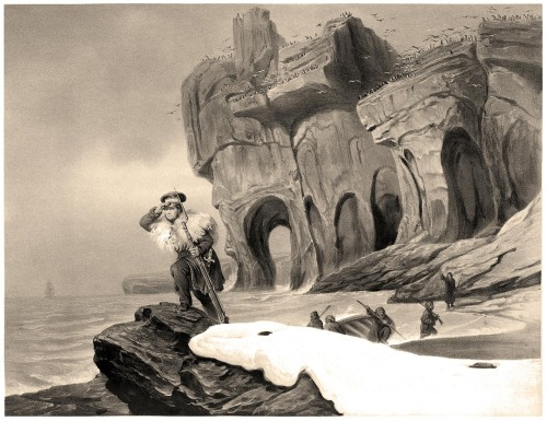 oldbookillustrations:  A view of Bear Island (Norway) Francois-Auguste Biard, from Voyages en Scandinavie, en Laponie, au Spitzberg et aux Feröe (Travels to Scandinavia, Lapland, Spitsbergen and the Faroe Islands), under the direction of Paul Gaimard, volume of plates, Paris, 1852. (Source: archive.org)