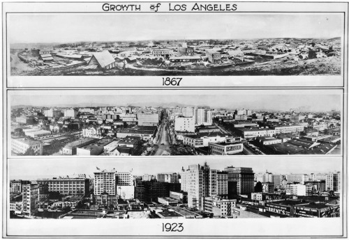 "Three panoramic photographs depicting the ""Growth of Los Angeles"" from 1867 to 1923"