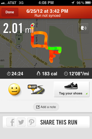 Today's run. Accomplished 2 miles! I only felt so-so immediately after the run though, due to muscle soreness and the fact that I'm still catching up on sleep after a drunken Saturday night. Same goal for tomorrow!