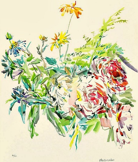 stilllifequickheart:  Oskar Kokoschka Summer Bouquet with Roses 1969
