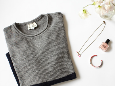 decadediary:  On my desk Amy Kaehne Two Tone Jumper, thank you Amy  Isabel Marant Jewelry and pale pink nail polish, sent by RGB  Blog Post: A Stranger In A Strange Land « Photo by Decade Diary