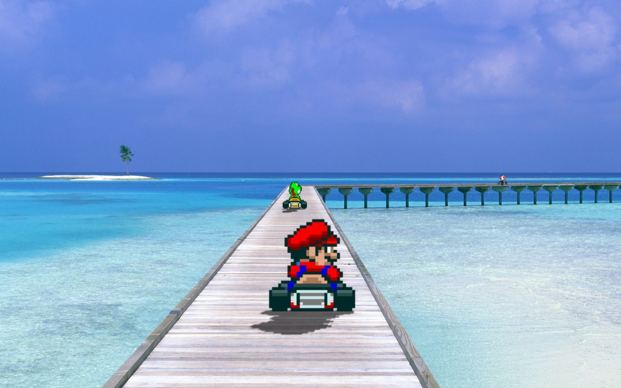 Great Weather for Karting!  (Sprites from Mario Kart on SNES) 1920x1080 version available on request