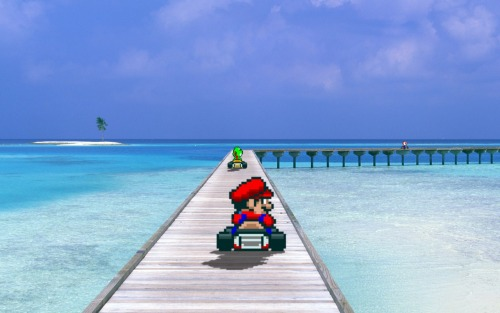 bastionpixelart:  Great Weather for Karting!  (Sprites from Mario Kart on SNES) 1920x1080 version available on request