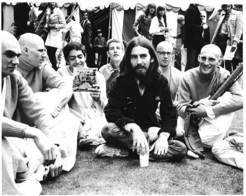 George Harrison and fellow Hare Krishna devotees