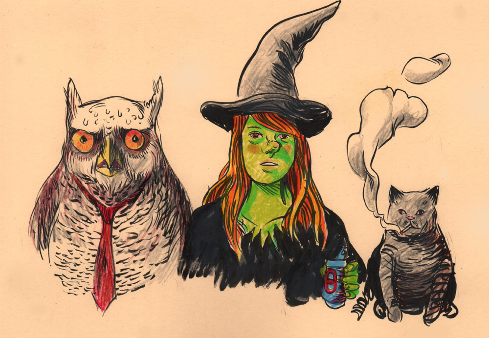 For today's warmup drawing, I sketched Megg, Mogg & Owl from Simon Hanselmann's brutal, brutal comics.