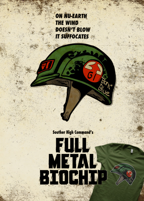 "Full Metal Biochip. 2000 AD's Rogue Trooper/Full Metal Jacket parody.  Available now as prints and clothing at redbubble.  Don't forget, from now until the 30th June 2012, redbubble are offering 10% off on t-shirts in honour of this years Comicon. If you're going you now you need this tee! ;) Just use the code ""COMICTEE"" at the checkout!"