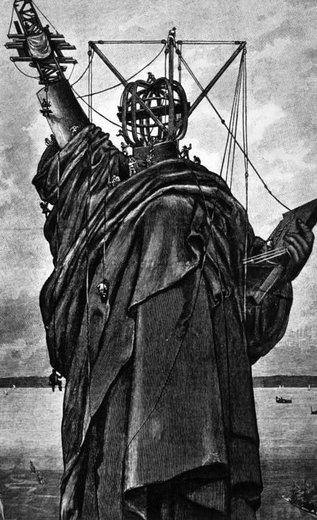 Erecting the Statue of Liberty at the Harbor Entrance, New York, New York