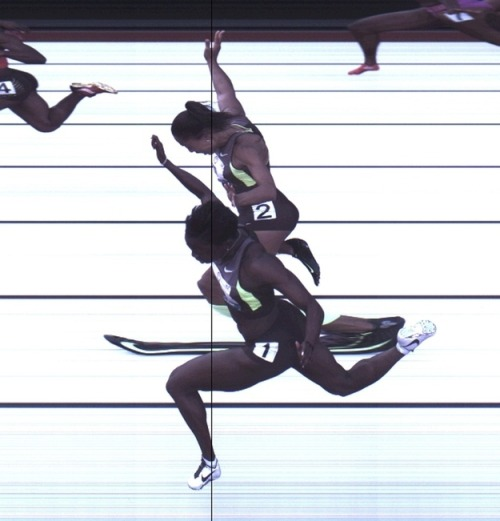 Dead Heat. Allyson Felix and Jeneba Tarmoh (front) hit the finish line at the same time during the women's 100 meter race at the US Olympic Trials in Eugene Oregon June 24, 2012 in this handout photo. Both athletes finished tied for third place with a time of 11.068 seconds. The toss of a coin or a head-to-head sprint could decide which athlete represents the United States in the women's 100 meters at the London Olympics. (Reuters/HANDOUT) [via]