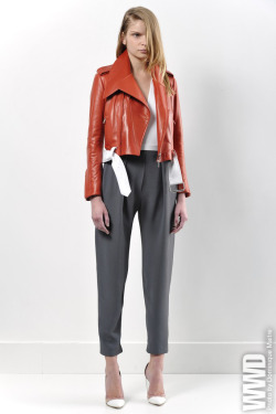 womensweardaily:  Mugler Resort 2013 Nicola Formichetti and Sébastien Peigné worked a Japanese motif into a more sporty-streetwear direction for resort.  For More