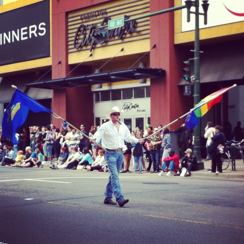 Snapped at Pride in Edmonton, little while ago now. 'cause nothing quite says Edmonton LGBT like rainbows and cowboy hats coming together.