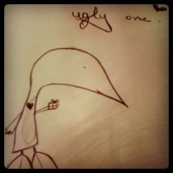 The Ugly One. [i was bored in biology but it's kind a cute, isn't it? (: ] (Wurde mit Instagram aufgenommen)