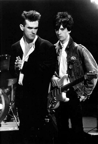 "Morrissey and Johnny Marr of the Smiths, circa 1980s. GQ: ""Were you in love with Johnny Marr?"" Morrissey: ""Sexually? Absolutely not. There was a love and it was mutual and equal but it wasn't physical or sexual. There are lots of people post-Smiths who would like to make some dramatic homosexual story. There never was one. It's often said that Johnny rescued me but he was also bobbing about in his own lifeboat.""  -GQ magazine, October 2005."